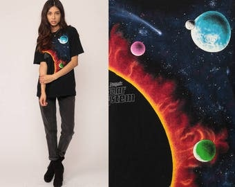 Galaxy Shirt Outer Space TShirt SOLAR SYSTEM Star Galactic Tee Planet Astronaut T Shirt 90s Black Graphic Vintage Large