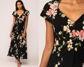 90s Floral Dress Black Bohemian Grunge Button Up Boho Midi 1990s Vintage Sheath Short Cap Sleeve V Neck Princess Seam Pink Small Medium