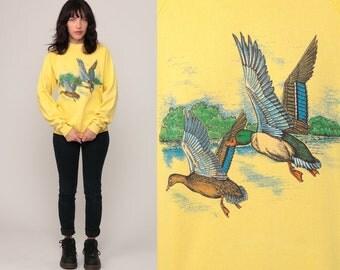 Animal Sweatshirt 80s MALLARD DUCK Shirt Sweater Hipster Bird Jumper Slouchy 1980s Graphic Vintage Raglan Sleeve Yellow Medium Large