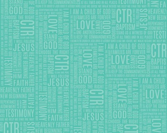 My Baptism Paper: Words on Teal (12x12; qty 2)