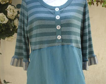 Upcycled Smock Tunic Top Recycled Mix Fabric Size Medium Green Stripes