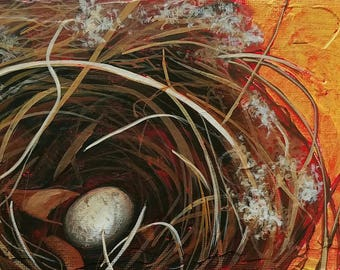 Daily Painting - Bird Nest Painting - Wren Nest with Egg