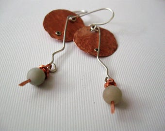 Tentacles--Copper and Silver Metal with Amazonite Beads