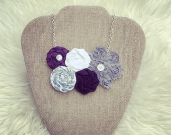 Purple, Cream, and Grey Fabric Flower Statement Necklace, Vintage Style Bib Necklace, Rolled Rosette Fashion Necklace