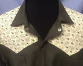 XL mens olive green and floral calico long sleevd western shirt.