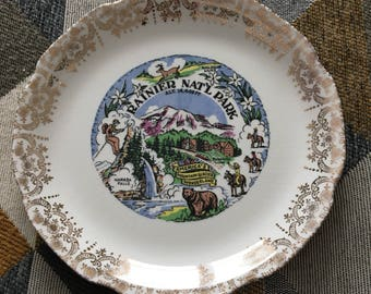 Vintage Souvenir Mt Rainier National Park Plate Gold Edging