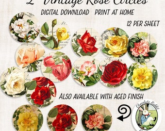 "Vintage Rose Clip Art, 2"" Circles, Printable Flower Collage Sheet, 2 Inch Circle Digital Download, Scrapbook Flowers, Rose Stickers"