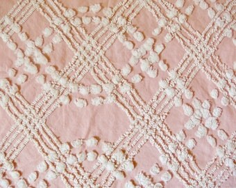 Cabin Crafts Pink Pops and Over Tufted Vintage Cotton Chenille Bedspread Fabric 18 x 24 Inches