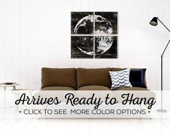 Rustic Full Moon Print - Astronomy Wall Art - Custom Made Moon Decor Wood Print Collection