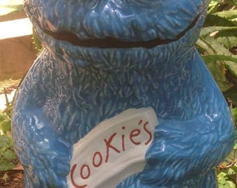 Cookie jar, Cookie Monster, ceramic, handmade, made in U.S.A., cookie, canister, kitchen storage