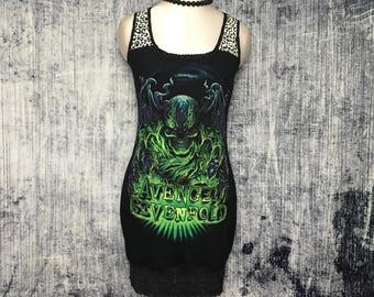 Avenged Sevenfold Women's Mini Dress // Reconstructed T-Shirt // Size Small // Alternative Metal Rocker Horror Spooky Gothic