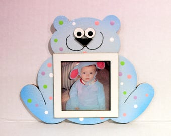 Bear Picture Frame - Hand Painted Wooden Frame