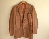 Men's Vintage Style Coats and Jackets Vintage 70s CARAMEL LEATHER Mens Jacket  Mens Brown Leather Coat Size 42 Regular  Clipper Mist  Mens Large Blazer Jacket $50.00 AT vintagedancer.com