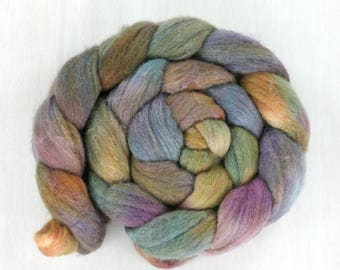 POLWARTH/SILK Handpainted Roving Combed Top :Flutter