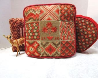 3 VINTAGE Needlepoint Pillows Handmade, Rust and Sage Green, Couch Pillows, Trio, Fresh Washed, Living Room, Stitching, Dated 1980