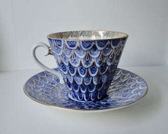 Lomonosov Company Forget Me Not  with Gold Bone China Cup and Saucer Set. Rusia