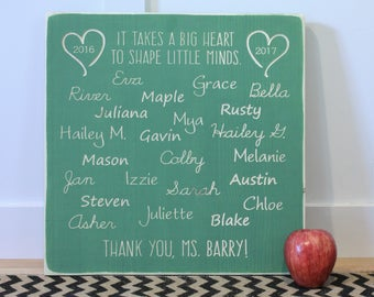 16x16 Personalized Teacher Appreciation Thank You Gift Sign - It Takes a Big Heart to Shape Little Minds