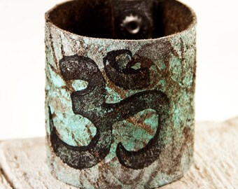 Leather Jewelry Women's Leather Cuff, Leather Bracelet, Leather Wristbands, Om Yoga Bracelet