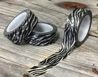 25% Off Summer Sale Washi Tape - 15mm - Black and White Zebra Print - Deco Paper Tape No. 786
