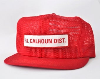 Rare All Mesh Vintage Baseball Cap 80s Calhoun Dist Patch Bright Red Plain Blank Simple Hat