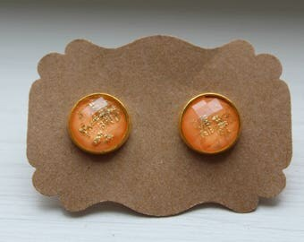 Orange Gold Foil Earrings, Gold Foil Earrings, Stud Earring, Gold Post, Resin Gold Foil Post, Gold Orange Earring, Stud Earrings, Resin Post