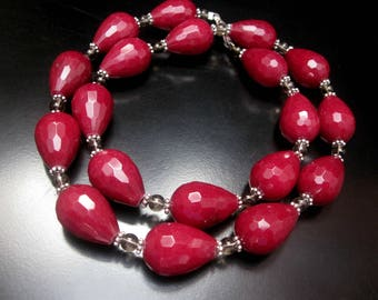 Ruby Jade Necklace, Faceted Graduated Ruby Jade Teardrop Beads, Smoky Quartz Round Beads, Pink Ruby Jade Stones, Ruby Jade Jewelry
