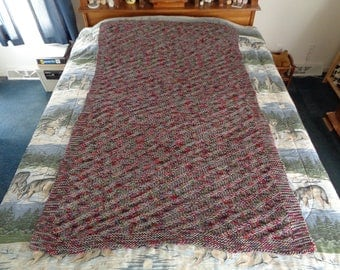 Medium Grey Mix and Perennial Hand Knitted Diagonal Stripe Afghan, Blanket, Throw - Home Decor