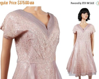 ON SALE 40s Cocktail Dress L Vintage Mauve Pink Purple Lace Tulle Prom Gown Wedding Bridesmaid Formal Free Us Shipping
