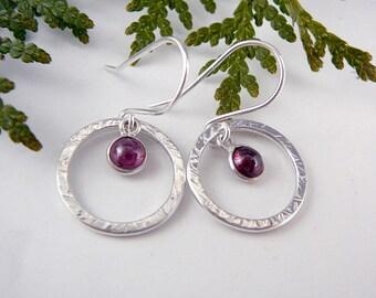 January Birthstone Earrings, Small Hoop Earrings for Women, Nickel Free Earrings, Garnet Jewelry, Garnet Earrings, Red Jewelry, 925 Jewelry