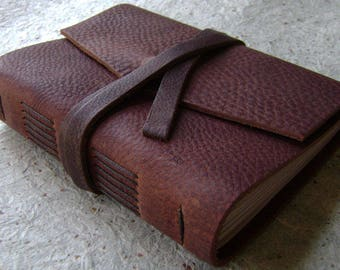 """Handmade rustic leather journal, 4"""" x 6"""", travel journal, leather sketchbook (2620)"""