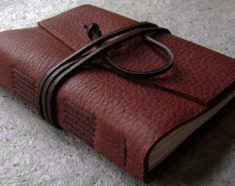 "Handmade rustic leather journal, 4"" x 6"", travel journal, leather sketchbook (2630)"