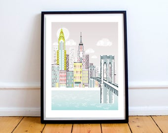 New York Print, Brooklyn Bridge Skyline Wall Art, American Cityscape, Christmas Gift, City, Kids room and Nursery Decor, Style: SPPNYBB1