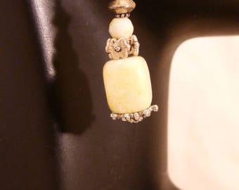 Earrings, Prehnite, Soft Green, Silver  4787