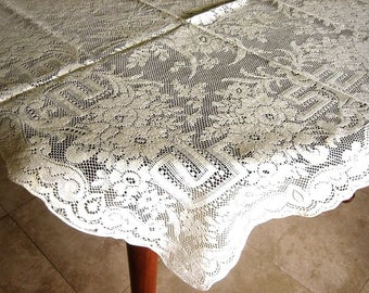 Tablecloth Vintage Crochet White Crocheted Net Needle Lace Ivory Cream QUAKER Topper