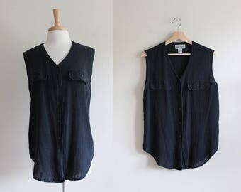 Vintage Black Raw Silk Sleeveless Button Down Top