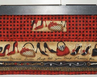 Quilted Sewing Machine Pad, Organizer, Caddy, Fashionista, Red with Black Polka Dots