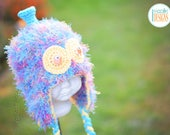 Furry Alien Monster Hat With Silly Eyes and Antenna READY to SHIP for Preschool Size
