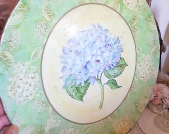 french hydrangea plate, papier mache plate, large floral plate, ornamental plates, shabby cottage