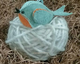 Woodland Bird, Wool Felt Bird Ornament, Bird Plush, Handmade Felt Bird