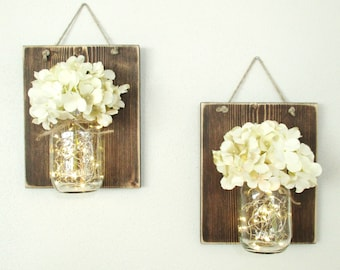 New.. Lighted Rustic Hanging Wood Wall Decor... 2  Hanging Mason Jar Sconces/ Lighted Wall Sconce. Creamy White Hydrangeas