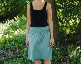 Womens Skirt Cotton Clothing Jersey Knit Skirt  Made in the USA - Made to Order - Gathering