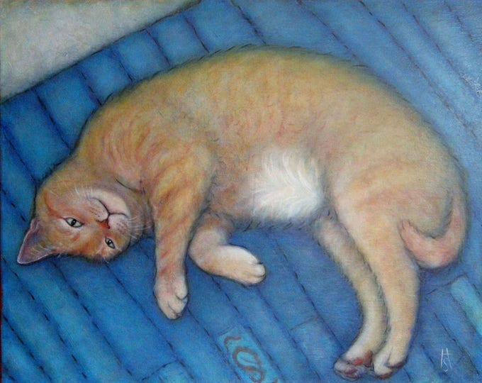 Buff Ginger Tabby Cat original oil painting. Willy