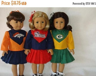 "ON SALE 18"" Doll Clothes, Fits 18"" American Girl Dolls,Patriots or Packers or Broncos,Cheerleader outfit,am girl, ag doll, football,READY To"