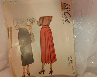 Vintage Pattern, McCall 7464, Misses Gathered and Straight Skirt, Vintage Antique Collectible, Patterns Sewing Crafting Paper Ephemera