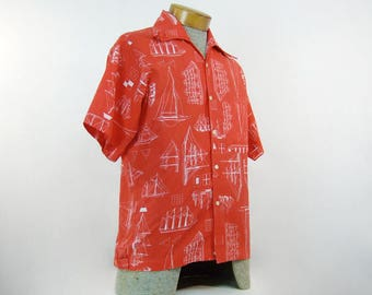 Mens Red Button Up Shirt Vintage Novelty Print Sailboat Nautical Collared Shirt - Medium M