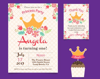 Pink, White and Gold Princess Birthday Party invitaton. Girls Party, flat invitation, Sweet 16, Bat Mitzvah Invitation 5x7, 2 sided queen