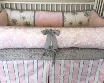 Baby bedding Girl Crib set with Light Pink  damask dandelion and Gray Ready to ship