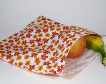 Orange and Pink Flowers Large Resuable Bag