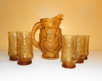 Anchor Hocking Rain Flower Beverage Serving Set, Pitcher and 5 Ice Tea Glasses (2 Sizes), Vintage 1970's