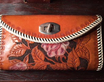 Handmade Woman's Leather Wallet Cowgirl Roses Brown Pink Red Leaves Stitching Vintage Beautifual OOAK Black GORGEOUS Western Texas Wallet